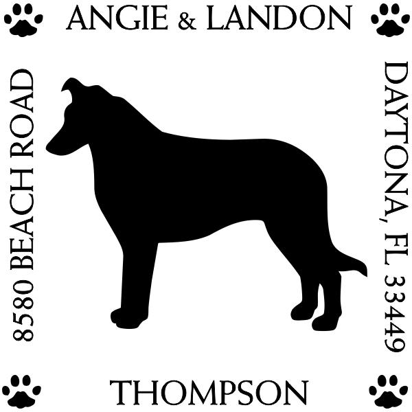 Border Collie Pet Lover Dog Address Stamp