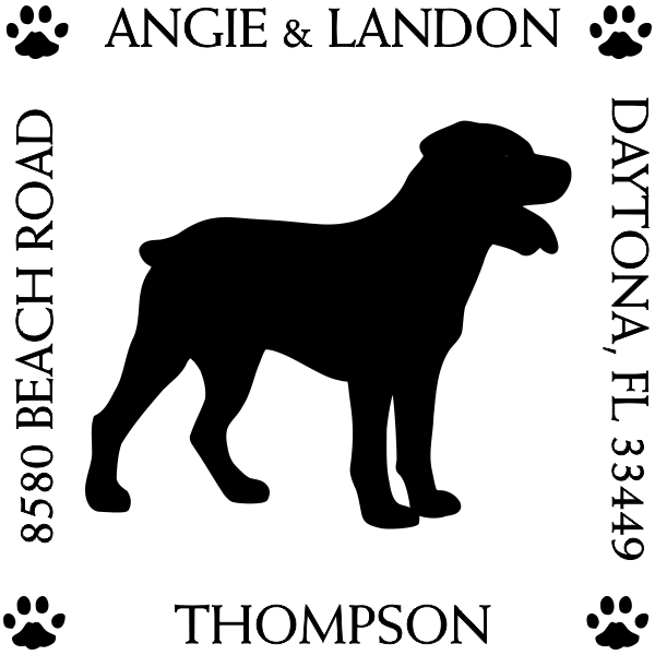 Rottweiler Pet Lover Dog Address Stamp