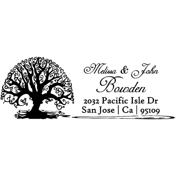 Bowden Curve Tree Address Stamp