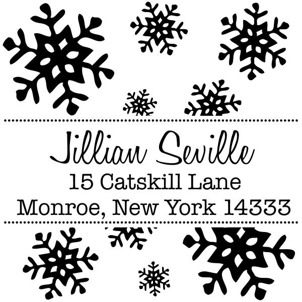Seville Snowflakes Square Address Stamp