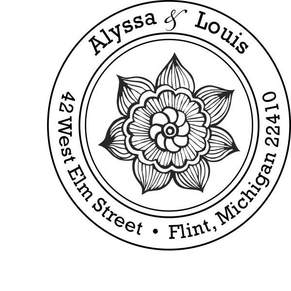 Henna Daisy Flower Return Address Stamp