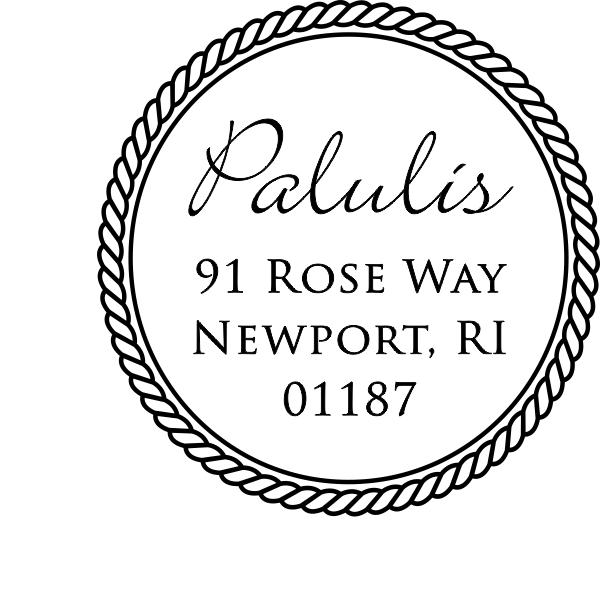 Cursive Last Name Rope Border Address Stamp