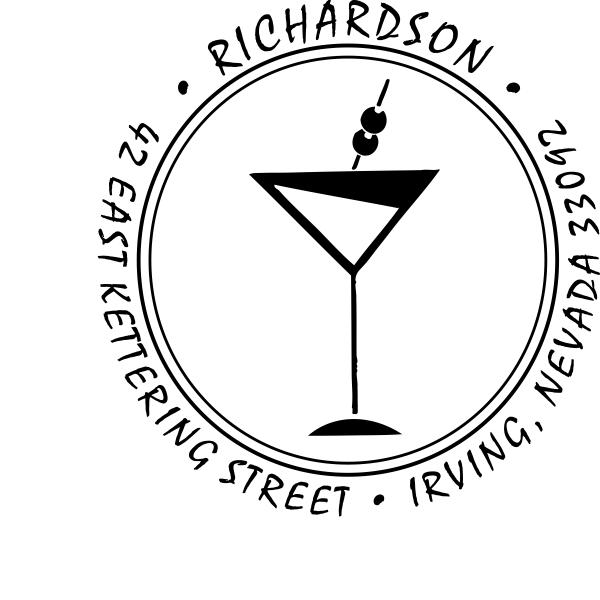 Martini Glass Round Return Address Stamp