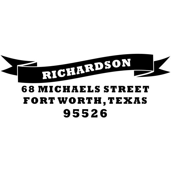 Bold Name Banner Return Address Stamp