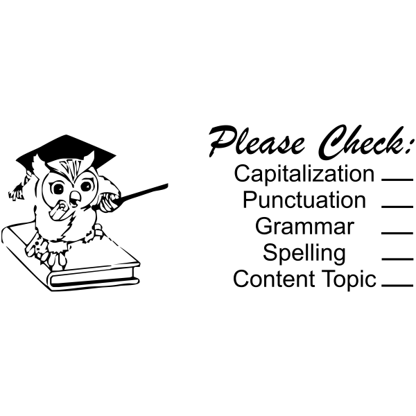 Feedback - Scholarly Owl Grading Rubric Rubber Teacher Stamp