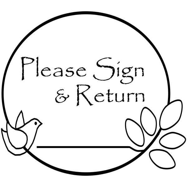 Sign And Return -Bird Branch Rubber Teacher Stamp