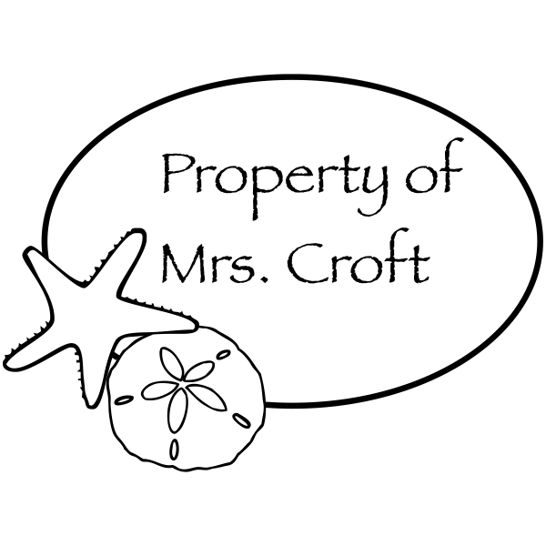 Property Of - Star Fish Teacher Name Rubber Teacher Stamp