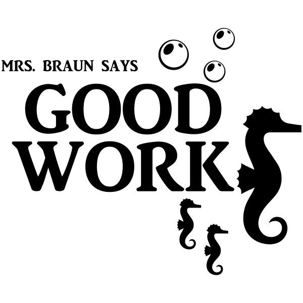 Feedback - GOOD WORK Seahorses Rubber Teacher Stamp