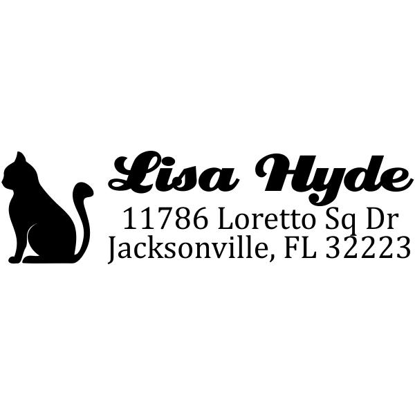 Sitting Cat Return Address Stamp