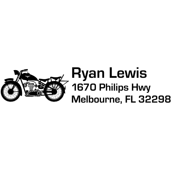 Roadster Motorcycle Return Address Stamp