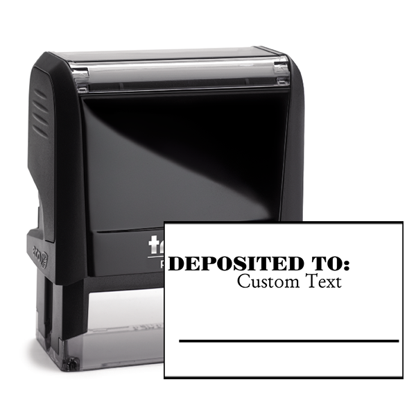 Custom DEPOSITED TO Date Space Mobile Check Deposit Rubber Stamp