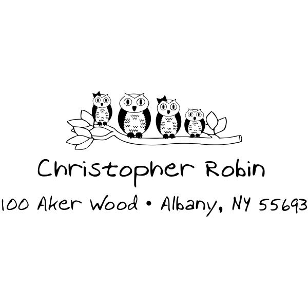 Owl Family Branch Return Address Stamp