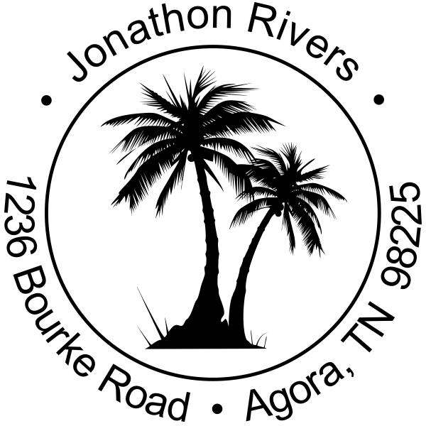 Palm Trees Round Address Stamp