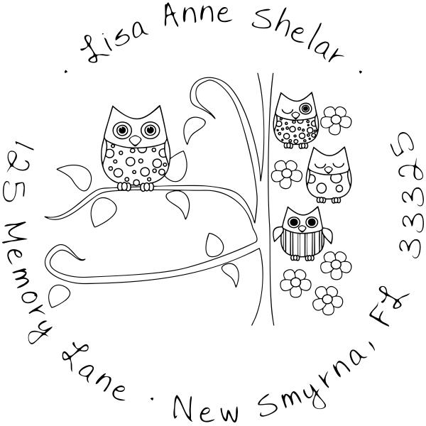 Owl Family Custom Address Stamp
