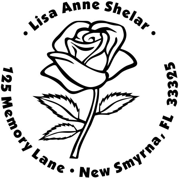 Bold Rose Custom Address Stamp