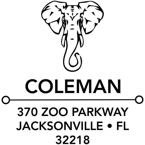 Proud Elephant Square Address Stamp