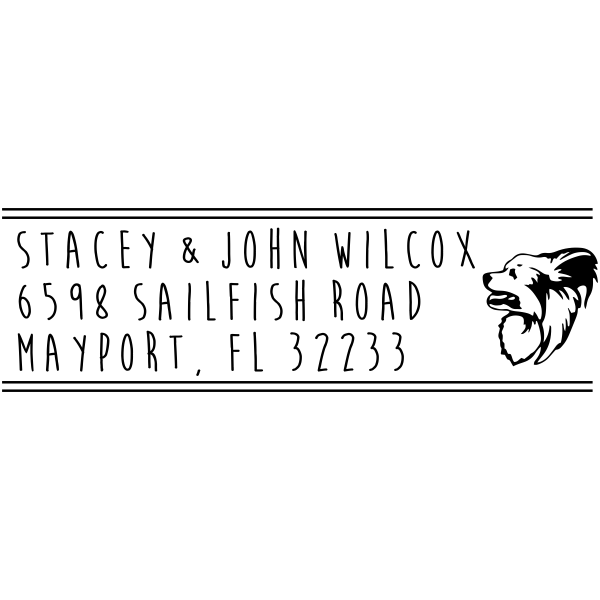 Papillon Dog Address Stamp