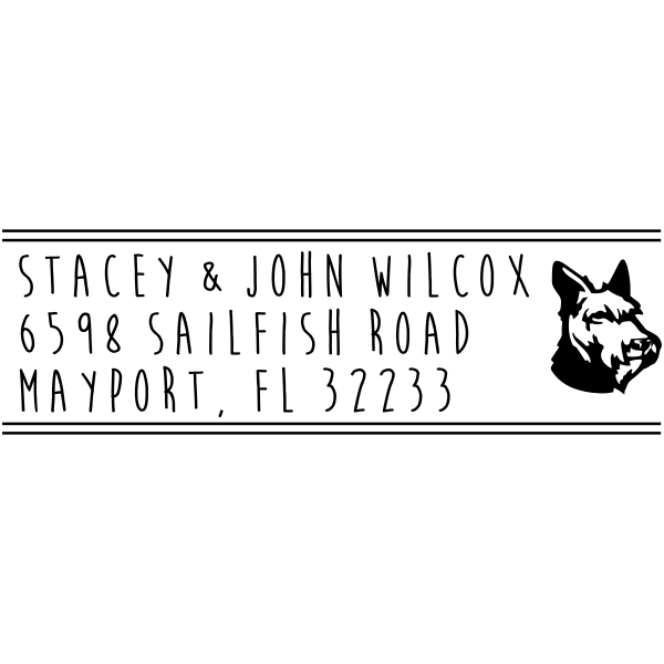 Schnauzer Dog Address Stamp