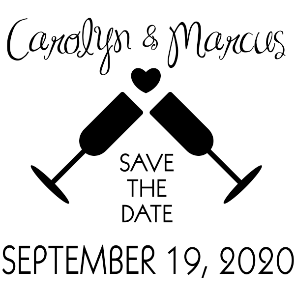 Wine Glass Heart Save the Date Stamp