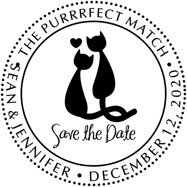 The Purrrfect Match Save the Date Stamp