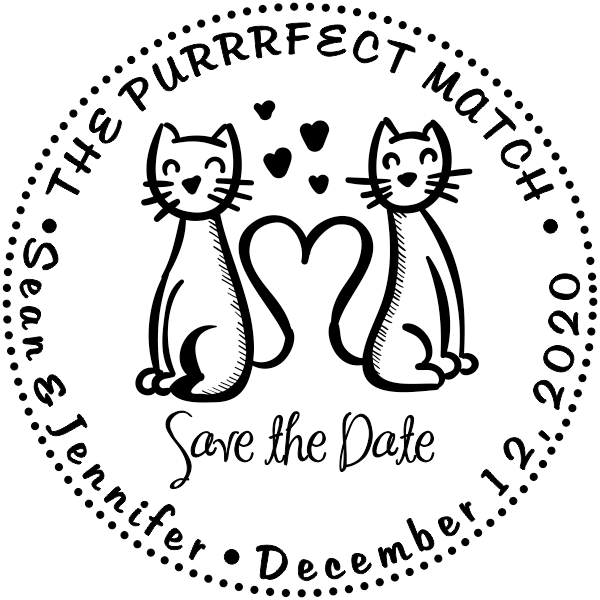 The Purrrfect Match Hearts Save the Date Stamp