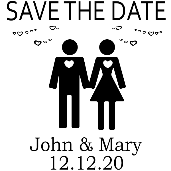 Couple Icon Save the Date Stamp