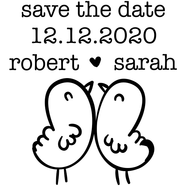 Chick Love Birds Save the Date Stamp