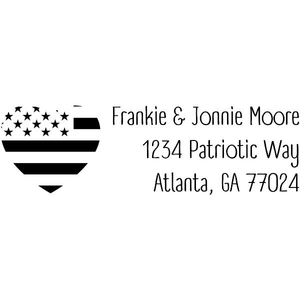 Return Address Patriotic Heart Flag Stamp