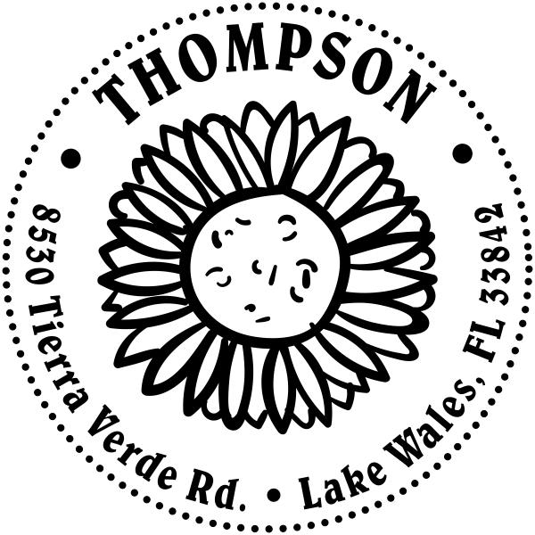 Sun Flower Thompson Address Stamp