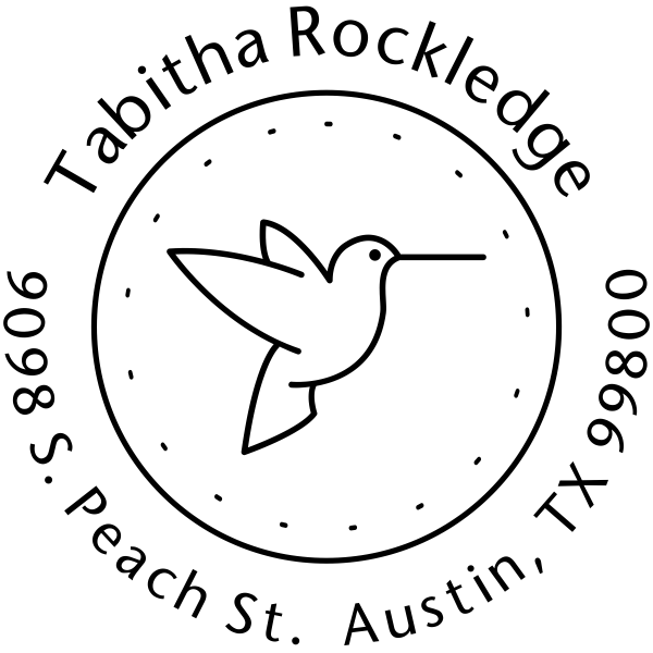 Hummingbird Dotted Border Address Stamp
