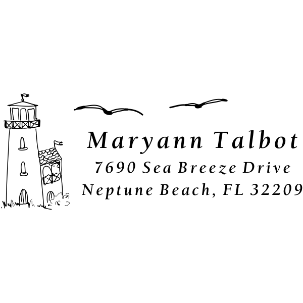 Lighthouse Birds Return Address Stamp
