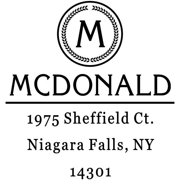 McDonald Monogram Return Address Stamp