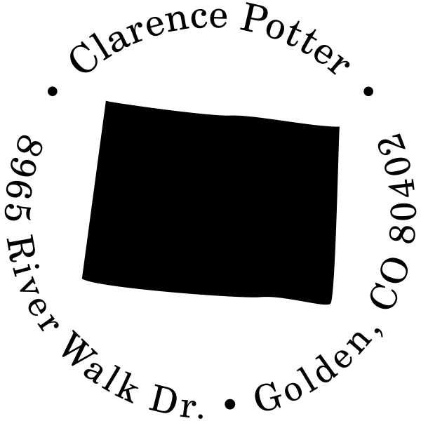 Colorado Round Address Stamp
