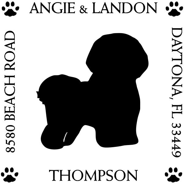 Bichon Frise Pet Dog Address Stamp