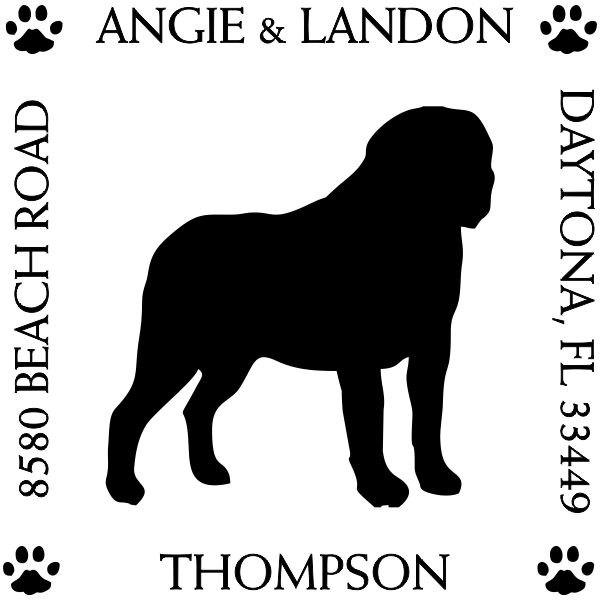 St. Bernard Pet Lover Dog Address Stamp