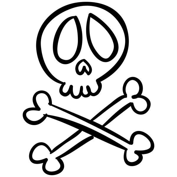Skull and Crossbones Halloween Craft Rubber Stamp