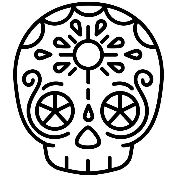 Skull Candy Sun Halloween Craft Rubber Stamp