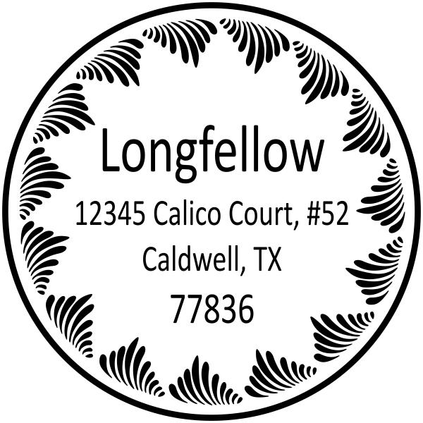 Longfellow Swirl Border Address Stamp
