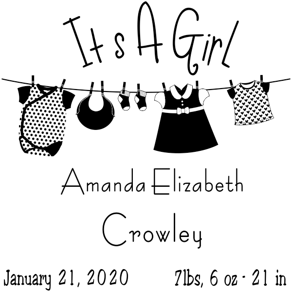 It's A Girl Clothes Line Rubber Stamp