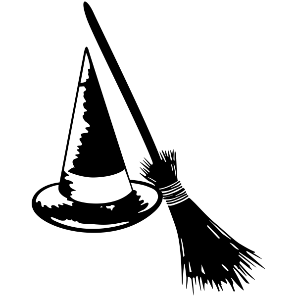 Witch's Hat and Broom Craft Stamp