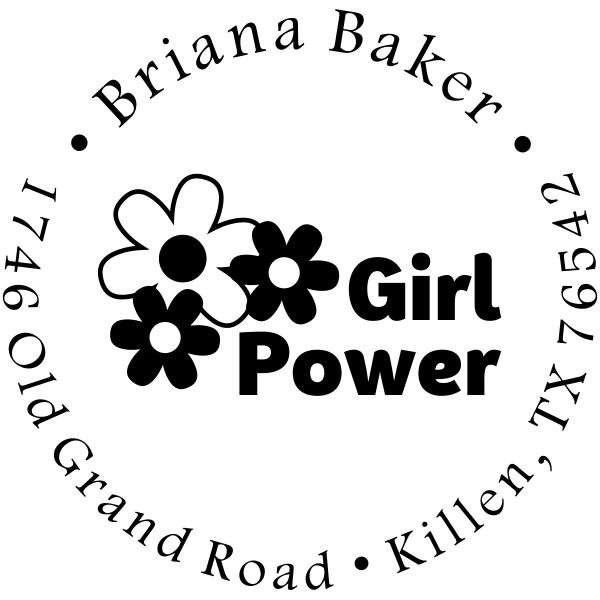 Girl Flower Power Return Address Stamp