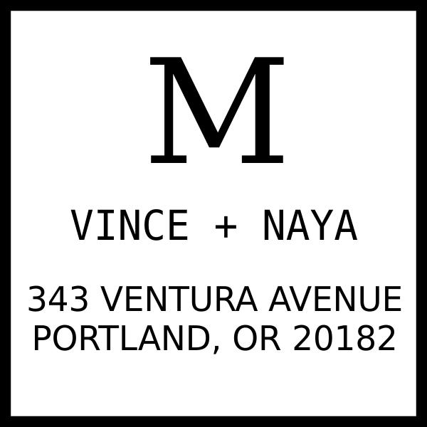 Vince Contrast Address Stamp