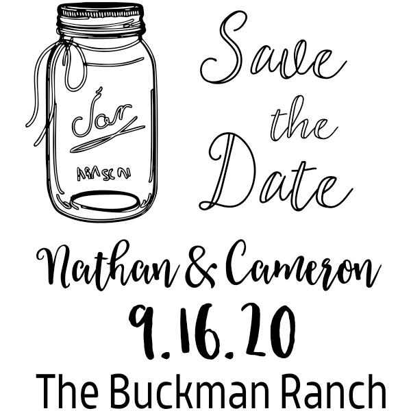 Custom Mason Jar Save the Date Rubber Stamp