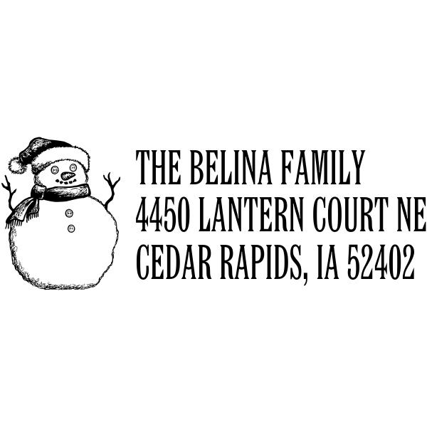 Sketch Snowman Holiday Return Address Stamp