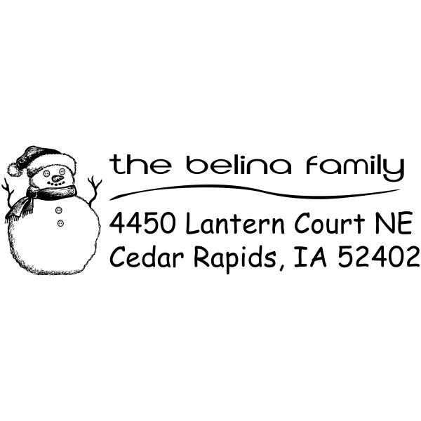 Sketch Snowman Curve Holiday Return Address Stamp