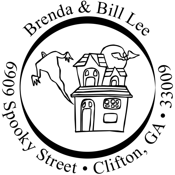 Halloween Spooky Haunted House Return Address Stamp
