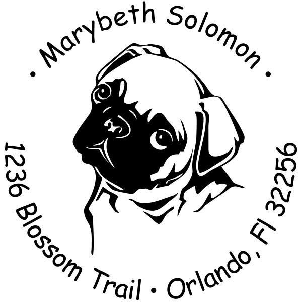 Cute Pug Dog Return Address Stamp