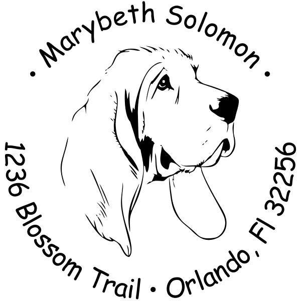 Bloodhound Dog Return Address Stamp