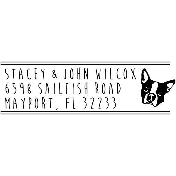 Boston Terrier Dog Address Stamp