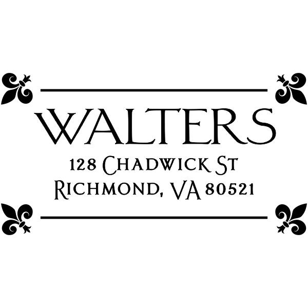 Fleur Corners Return Address Stamp